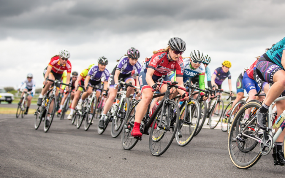 Hannah Nicklin in the bunch at the Castle Coombe Easter Classic